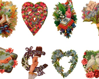 "Large Stickers (each sticker 2.5""x3.5"", pack 8 stickers) Scrapbooking Craft Vintage # Doves, Hearts and Flowers FLONZ 365"