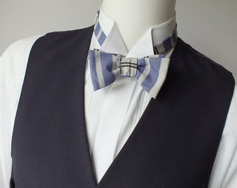 Blue stripe, Men's Bow Tie, self tie, bowties handmade by Bagzetoile - ships worldwide from France