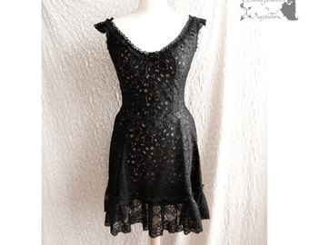 Dress black lace, Victorian, romantic goth, steampunk, Devia, Somnia Romantica, size small, see item details for measurements