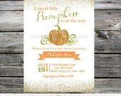 Baby Shower Pumpkin Invitation, Glitter Invitation,  Printed Invitation, Baby Shower Invite, Pumpkin Birthday, 1st Birthday, Pumpkin Invite