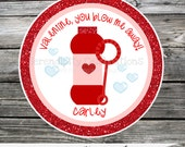 Valentine Tags, Set of 12 Personalized Favor Tags, Valentine's Day, Valentine Favors, Valentine Stickers, Valentine's Day Bubbles, Red, Pink