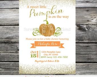 Baby Shower Pumpkin Invitation, Glitter Invitation,  Printed Invitation, Baby Shower Invite, Pumpkin Birthday, 1st Birthday, Pumpkin Invite