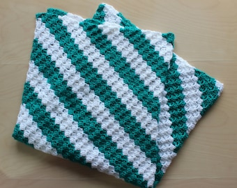 Teal and White Stripped Baby Blanket