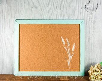 Bullein board, Cork board, message board with stenciled wheat grass, farmhouse decor