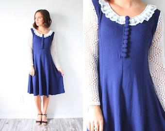 Vintage long sleeve blue dress // modest lace blue collared dress // fancy lace dress // 1960's modest dress // 1950's dress // full circle