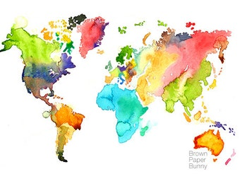 Watercolor World Art Print