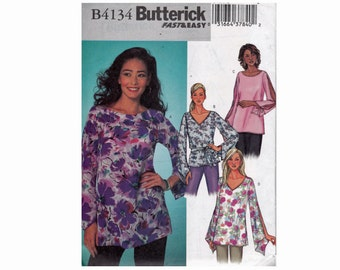 Blouse UNCUT OOP Sewing Pattern Romantic Tunic Top Split Sleeves Butterick 4134 Fast & Easy Top Sizes L 16-18 XL 20-22 Bust 38-40 42-44