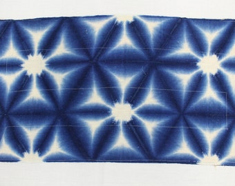 Shibori Textile. Vintage Japanese Indigo Cotton. Quilted Fabric Table Mat, Table Runner, Zoukin (Ref: 1225)