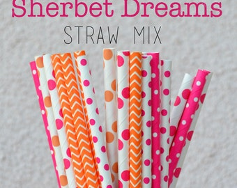 CLEARANCE Sale -25 Tangerine and Hot Pink Paper Straws - (25) Sherbet Dreams Mix - Pink and Orange Straws - Paper Straw Sale