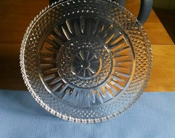 Cut Glass Tray Cake Plate Stand Wedding Shower Bridal Gift Cookie Plate