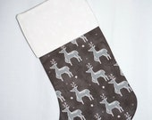 SALE - Christmas Stocking Modern Stocking - Moda JOL Stocking - Reindeer, Snowflake, Red, Grey - Family Stocking