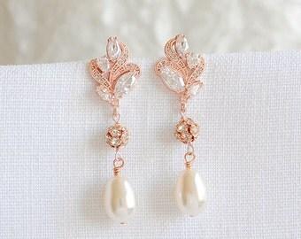 Rose Gold Crystal Wedding Earrings, Swarovski Pearl Bridal Earrings, Leaf Filigree Dangle Stud Earrings, Silver Bridal Jewelry, BERENICE