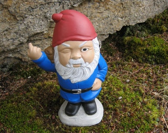 Gnome For Garden, Finger Flipping Gnomes, Garden Gnome Cement Concrete Statue, Naughty Rude Gnomes Giving Finger