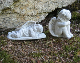 Concrete Cherub Angels Cast Cement