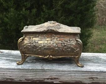 Jewelry Box Cast Metal Box Gothic Velvet Lined Box