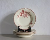 French Antique Faience Transferware BOWLS Sarreguemines Favori Red 1900s