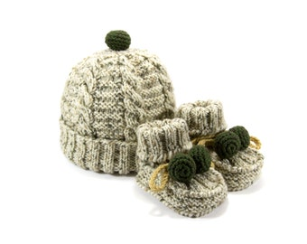 Knitted Baby Hat and Booties - Gray and Green, 6 - 12 month