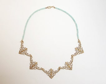 Mint Amazonite pearls and gold metal filigree necklace