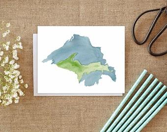 Superiorland - Michigan's Upper Peninsula - Watercolor Map - Lake Superior - Great Lakes - Cards - Greeting Card - Stationery - UP - Yooper