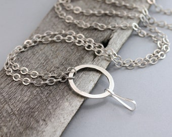 Rustic Silver ID Badge Lanyard, Antique Silver Lanyard, Silver Lanyard, Lanyard, ID Holder, Silver Chain Lanyard, ID Lanyard, Badge Lanyard