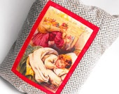 Twas the Night Before Christmas Pillow Child Nestled Snug in Bed Santa Claus Saint Nicholas Red Home Decor Chimney Winter Holiday Decoration