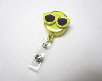 Yellow Sunglasses Retractable ID Badge Reel Optometrist Name Tag Holder