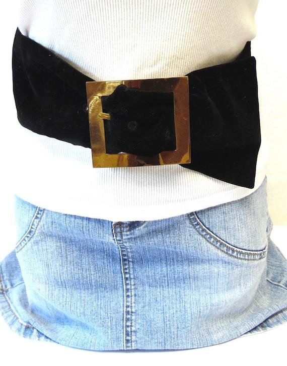 5 wide black velvet belt large gold buckle