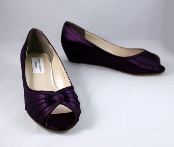 purple wedding shoes wedge low heel 1 inch by