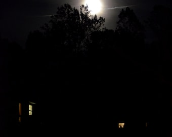 digital download nature photography: moonrise over suburbia, Halloween Photograph, eerie photo, dark photography, full moon photo, lunar