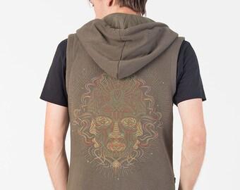 Mens Hooded Vest In Olive, Hood Vest, Burning Man, Festival Fashion, Psychedelic Clothing, Psy, Sleeveless Jacket
