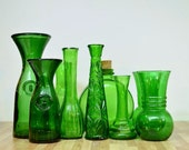 Vintage Instant Collection of Green Glass Vases and Bottles Duraglas Sunsweet Randall Italy Roma Litro Wine Carafe