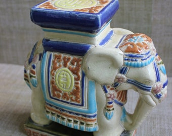 Small Elephant Garden Stool--Chinoiserie Stool--Elephant Decor--Ceramic Stool
