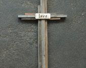 Rustic Wedding Cross, Barnwood Cross Heart, Baptism Cross, Recycled Wood Cross, Rustic Wood Cross, Personalized Wood Cross