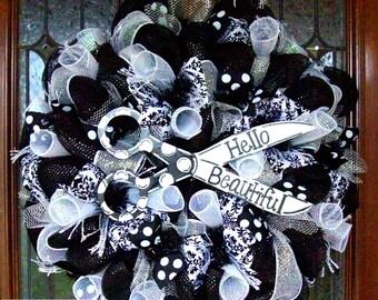 Customized Salon Wreath, wreath, deco mesh wreath, wreaths for door, everyday wreath, hair salon, hair stylists