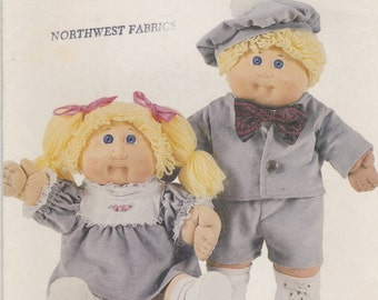 cabbage patch kids clothes pattern Twins Outfits Boy & Girl 390/3562 Butterick Pattern  vintage 1986