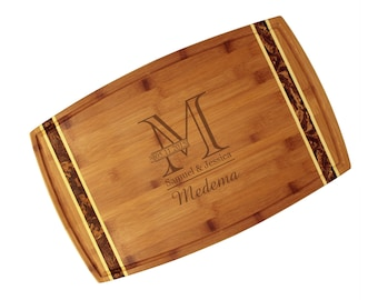 Personalized Bamboo Cutting Board with Engraved Outline Monogram Inlay and Java Totally Bamboo - Wedding Gift, House Warming, Kitchen Gift