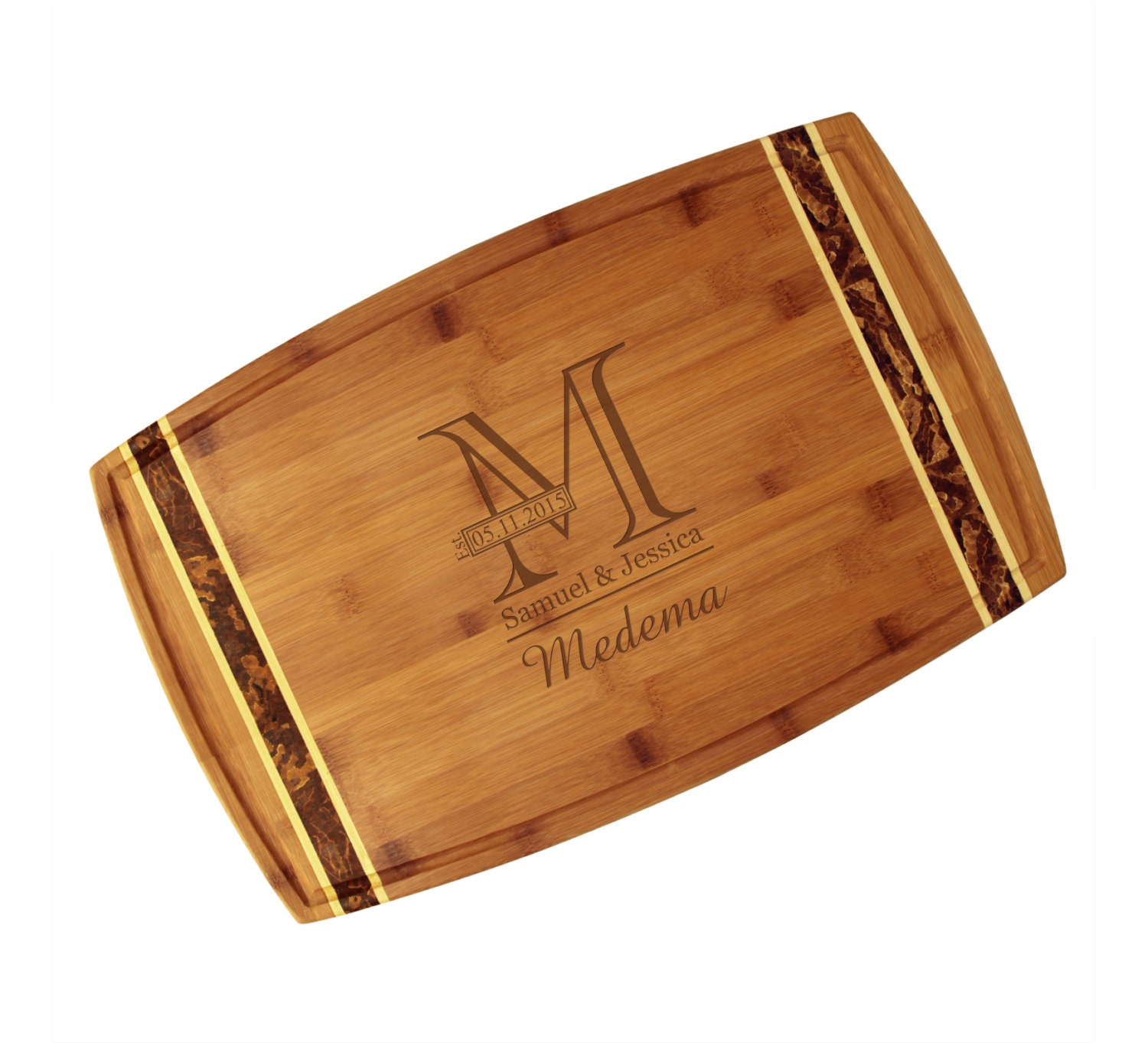 Personalized Cutting Boards ~ Personalized bamboo cutting board with engraved outline