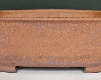 Red Stoneware Bonsai Pot - Rectangle with Rounded Corners
