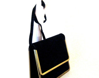 60s Clutch Purse Black Velvet Purse Black Shoulder Bag 1960s Square Purse Black Evening Clutch Velvet Evening Bag Small Black Purse