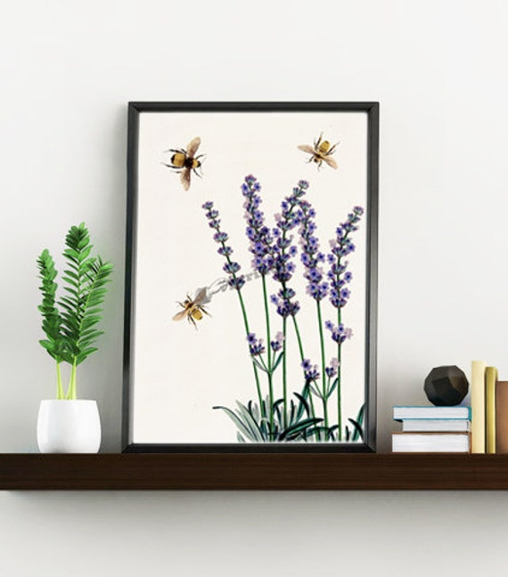 Spring Sale Wall art home decor Bees with Lavender flowers art print- Wall decor bees insect wall hanging Save the bees  WBB136