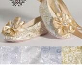 Champagne Ballet Slipper, Beige Toddler Flower Girl Shoe, Also Gold, Ivory, White, Pink, Christening, Little Girl Shoe, Baby Souls Couture