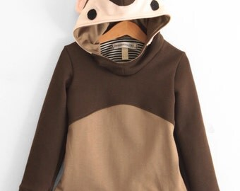 Kids' hooded monkey sweatshirt. Cosplay costume, dress up, fall winter wear. Sizes from 2 to 7 years. Made to order.