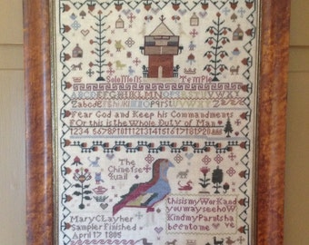NEW Mary Clay 1805 Chinese Quail Sampler cross stitch pattern by Merry Wind Farm at thecottageneedle.com ABC alphabet primitive prims quaker