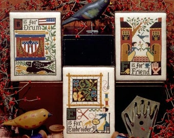D E F Book No. 99 : Prairie Schooler counted cross stitch patterns sampler Americana friendship drum hand embroidery