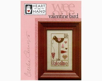 Valentine Bird : counted cross stitch patterns Heart in Hand Cecilia Turner smalls pinkeep embroidery