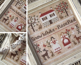 Snow White and Rose Red : The Little Stitcher Laura Rimola counted cross stitch patterns storytime children's literature fairy tale