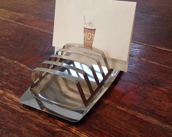 Metallurgica Motta Italy MCM Stainless Toast Holder Letter Holder Desk Accessory