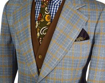 Gorgeous 40R Blue-Gray Windowpane  Preppy 60's Blazer