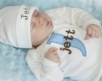 Personalized Baby Boy Gift Monogram Baby Boy Newborn Boy Take Home Outfit Baby Boy Clothes Boy Baby Shower
