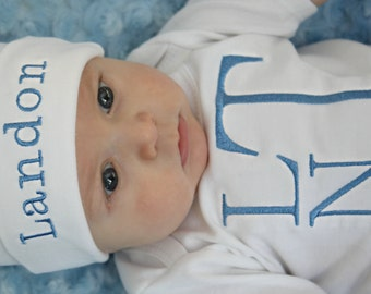 Baby Boy Clothes Monogram Outfit Bodysuit with Hat and Pants Options Personalized Baby Boy Newborn Boy Take Home Outfit Baby Gifts